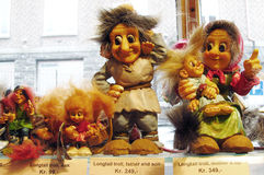Scandinavia snouvenir ugly troll. Souvenir troll figure sold in the shop in Norway. Fairy tale mythological trolls, scandinavian myth and legends about trolls Royalty Free Stock Photography