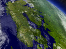 Scandinavia from space. Scandinavia with surrounding region as seen from Earth's orbit in space. 3D illustration with highly detailed realistic planet surface Stock Image