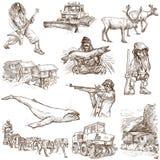 Scandinavia. Traveling series: Scandinavia set no. 3 (Denmark, Norway, Sweden and Island) - Collection of an hand drawn illustrations, originals. Description Royalty Free Stock Photos