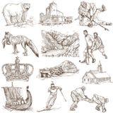 Scandinavia. Traveling series: Scandinavia set no. 1 (Denmark, Norway, Sweden and Island) - Collection of an hand drawn illustrations, originals. Description Stock Photo