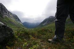 Scandinavia,. Troll's valley. Man standing Stock Photography