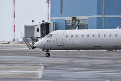 Scandinavian airlines. CRJ900 taxying at Vilnius Intl airport Stock Photography