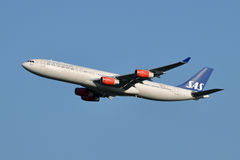 Scandinavian Airlines Airbus A340 Taking Off Royalty Free Stock Photo