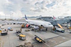 Scandinavian Airlines SAS Airbus A300 at Hong Kong airport. Stock Images