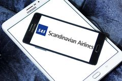 Scandinavian Airlines, SAS logo. Logo of Scandinavian Airlines, SAS on samsung mobile. Scandinavian Airlines, usually shortened to SAS is the flag carrier of Royalty Free Stock Photos