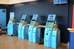 Scandinavian airlines self service Check-in. Counters at the airport Stock Photo