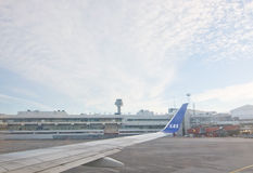 Scandinavian Airlines at Stockholm Arlanda airport. STOCKHOLM, SWEDEN - DECEMBER 25, 2016: Scandinavian Airlines jetliners line up outside the gates at the stock image