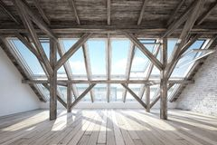 Free Scandinavian Attic Interior With Wooden Beam Stock Images - 165653714