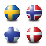 Scandinavian balls. 3D spherical flags representing scandinavian countries Royalty Free Stock Photos