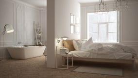 Scandinavian bathroom and bedroom, white minimalistic design, ho Royalty Free Stock Photos