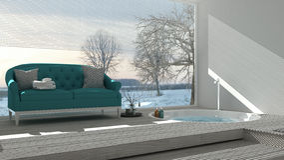 Scandinavian bathroom with classic sofa and bathtub, spa, hotel, Royalty Free Stock Image