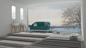 Scandinavian bathroom with classic sofa and bathtub, spa, hotel, Stock Photos