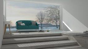 Scandinavian bathroom with classic sofa and bathtub, spa, hotel, Royalty Free Stock Photos