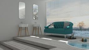 Scandinavian bathroom with classic sofa and bathtub, spa, hotel, Stock Image