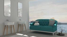 Scandinavian bathroom with classic sofa and bathtub, spa, hotel, Royalty Free Stock Photography