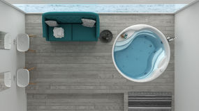 Scandinavian bathroom with classic sofa and bathtub, spa, hotel, top view royalty free stock image