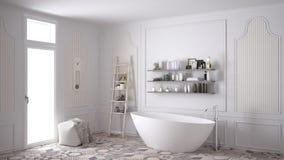 Scandinavian bathroom, classic white vintage interior design stock photography
