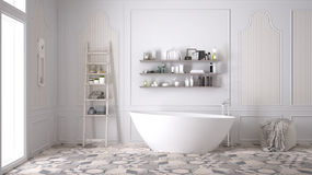 Free Scandinavian Bathroom, Classic White Vintage Interior Design Royalty Free Stock Images - 88046559