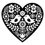 Scandinavian black folk art pattern with birds and flowers - Valentine`s Day, love concept stock illustration