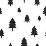 Scandinavian black forest tree on white vector Stock Photos
