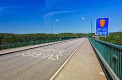 Scandinavian border line on Svinesund bridge Stock Photography