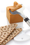 Scandinavian brown cheese Stock Images