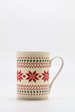 Scandinavian Christmas cup with pattern isolated on white backgr Royalty Free Stock Images