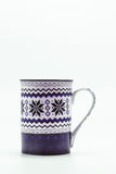Scandinavian Christmas cup with pattern isolated on white backgr Stock Photo