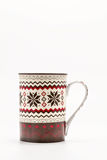 Scandinavian Christmas cup with pattern isolated on white backgr Stock Images