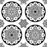 Scandinavian Christmas  folk pattern - snowflake mandala seamless design, black and white Xmas wallpaper, wrapping paper or Stock Photos