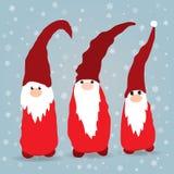Scandinavian christmas gnomes in winter background stock illustration