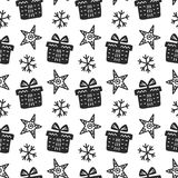 Scandinavian Christmas nordic seamless pattern with decorative doodle elements Stock Photo
