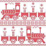 Scandinavian Christmas Nordic Seamless Pattern with gravy train, gifts, stars, snowflakes, hearts, snow, in cross stitch pattern Stock Photos