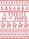 Scandinavian Christmas pattern inspired by A thrill of Hope lyrics festive winter elements in cross stitch with heart, snowflake,