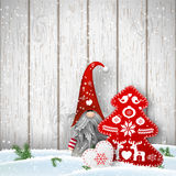 Scandinavian christmas traditional gnome, Tomte with other seasonal decorations, illustration Royalty Free Stock Photo