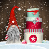 Scandinavian christmas traditional gnome, Tomte, with stack of colorful gift boxes, illustration vector illustration