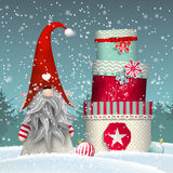Scandinavian christmas traditional gnome, Tomte, with stack of colorful gift boxes, illustration Royalty Free Stock Photo