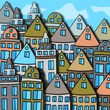 Scandinavian city street color  illustration Royalty Free Stock Photos