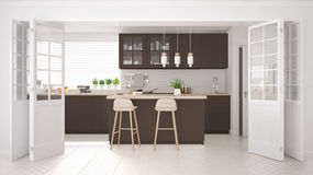 Scandinavian classic kitchen with wooden and brown details, mini Stock Photos