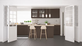 Scandinavian classic kitchen with wooden and brown details, mini Stock Image