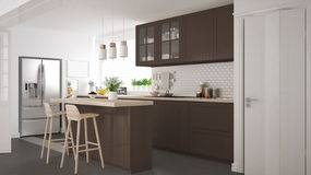 Scandinavian classic kitchen with wooden and brown details, mini Royalty Free Stock Photo