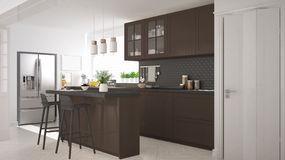 Scandinavian classic kitchen with wooden and brown details, mini Stock Photo