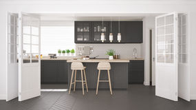 Scandinavian classic kitchen with wooden and gray details, minim Royalty Free Stock Image