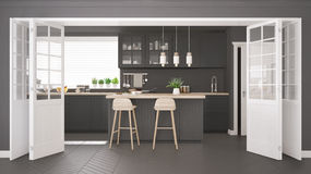 Scandinavian classic kitchen with wooden and gray details, minim Stock Photo