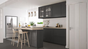Scandinavian classic kitchen with wooden and gray details, minim Royalty Free Stock Photography