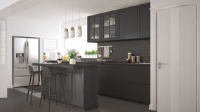 Scandinavian classic kitchen with wooden and gray details, minim Royalty Free Stock Photos