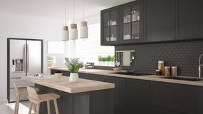Scandinavian classic kitchen with wooden and gray details, minim Stock Photos