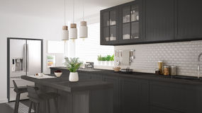 Scandinavian classic kitchen with wooden and gray details, minim Royalty Free Stock Photo