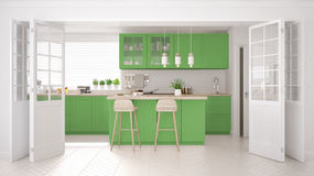 Scandinavian classic kitchen with wooden and green details, mini Stock Images