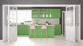 Scandinavian classic kitchen with wooden and green details, mini Royalty Free Stock Image